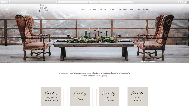 Web con catálogo Prettydaysplanner