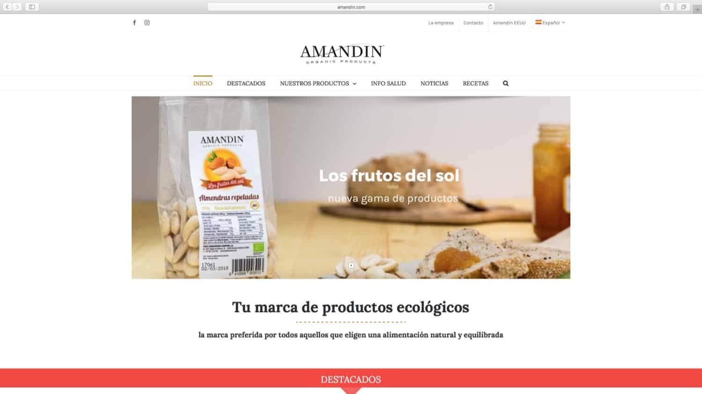Web con catálogo Amandin